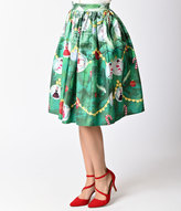 Unique Vintage 1950s Green Christmas Tree High Waist Circle Swing Skirt