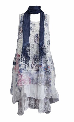 xpaccessories Italian Womens Ladies Butterfly Floral Lagenlook Lace Baggy Oversize Scarf Dress Navy Blue UK 12