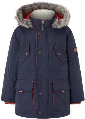 Monsoon Boys Parka Coat with Hood Blue