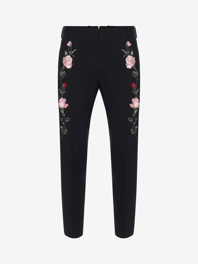 Alexander McQueen Rose Embroidered Tuxedo Pants