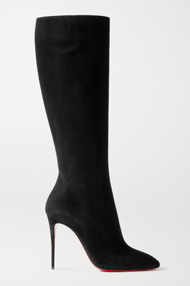 Christian Louboutin Eloise 100 Suede Knee Boots - Black