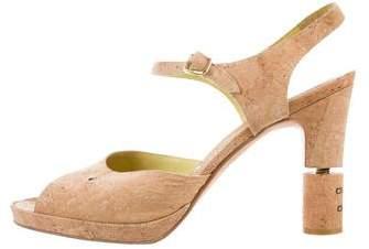 Chanel Cork Ankle-Strap Sandals
