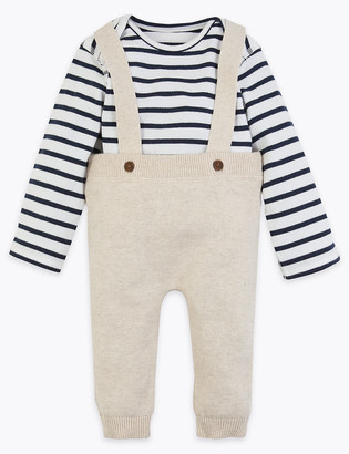 Marks and Spencer 2 Piece Cotton Knitted Dungaree Outfit (0-36 Mths)