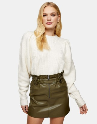 Topshop faux-leather zip detail paperbag mini skirt in khaki
