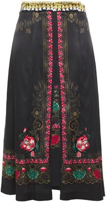 Etro Layered Printed Stretch-silk Satin Midi Skirt