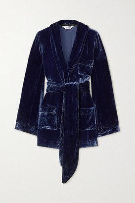 SLEEPING WITH JACQUES The Bon Vivant Belted Piped Velvet Robe - Blue