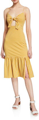 Saylor Doris Striped Tie-Front Sleeveless Midi Dress