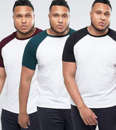 Asos PLUS 3 Pack T-Shirt With Contrast Raglan Sleeves SAVE
