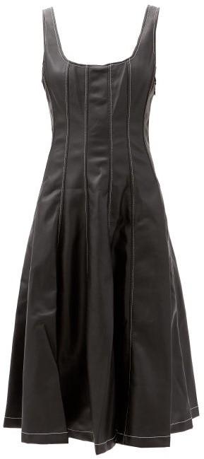 STAUD Wells Panelled Faux-leather Midi Dress - Black