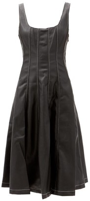 STAUD Wells Panelled Faux-leather Midi Dress - Black