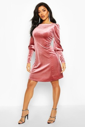 boohoo Deep Cuff Fit And Flare Mini Dress