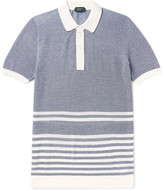 Incotex Striped Mélange Cotton-Piqué Polo Shirt
