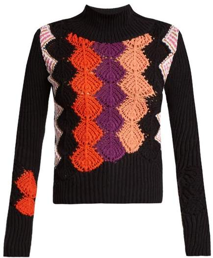 Peter Pilotto Crochet Panel Ribbed Knit Cotton Blend Sweater - Womens - Navy Multi