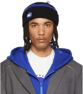 Ader Error Black Stone Logo Regular Fit Beanie