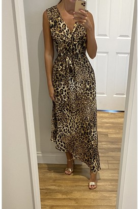 Gini London Animal Print Wrap Front Satin Midi Dress