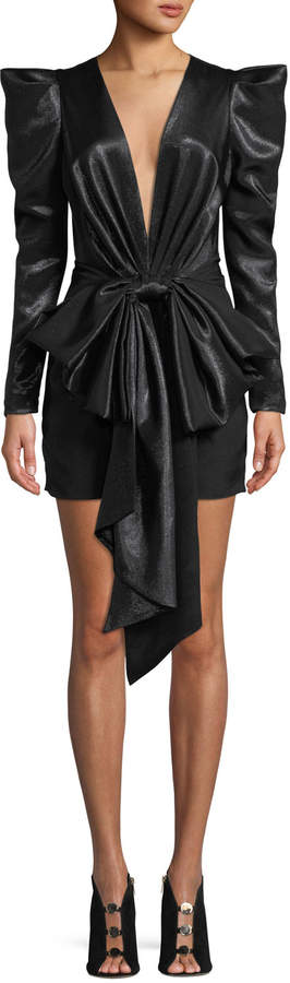 Alexandre Vauthier Exaggerated-Shoulder Bow-Waist Fitted Mini Cocktail Dress