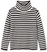 MANGO Girls Stand-Collar Striped Sweater