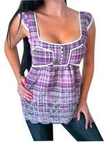 Aryeh Sexy Women Short Sleeve Low-Cut Plaid Country Tank Top