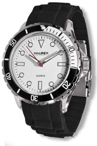 Haurex Italy Men's Sport.W1 Sport Clear Plastic Case Rotating Bezel Rubber Watch