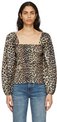 Ganni Brown Poplin Leopard Blouse