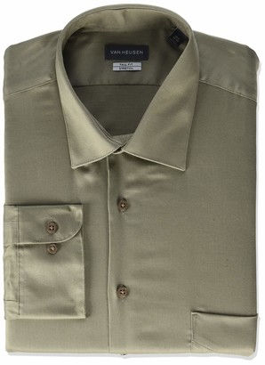 Van Heusen Men's Size FIT Dress Shirts Lux Sateen Stretch Solid (Big and Tall)