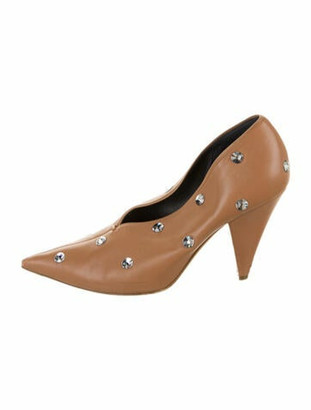 Celine V-Neck Leather Lace-Up Boots