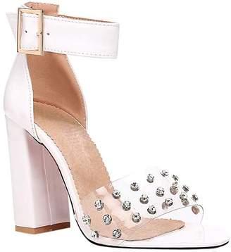Butiti BUTITI Women's Sandals white - White Rhinestone-Studded Sandal - Women