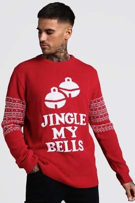 boohoo Jingle My Bells Slogan Christmas Jumper