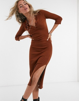 ASOS DESIGN knitted dress with collar detail in brown