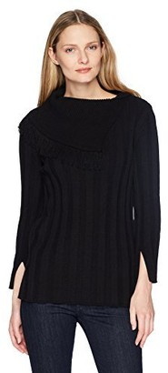 Chaus Women's L/s Fringe Neck Ribbed Sweater