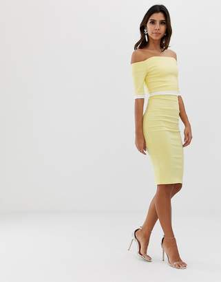 Bardot Vesper short sleeve contrast waistbadn pencil dress-Yellow