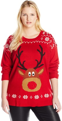 Blizzard Bay Women's Plus-Size Rudolph with Light-UP Nose Ugly Christmas Sweater