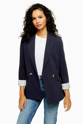 Topshop Womens Navy Double Breasted Jacket - Navy Blue