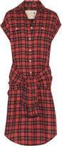R 13 Tie-front Plaid Flannel Shirt Dress - Red