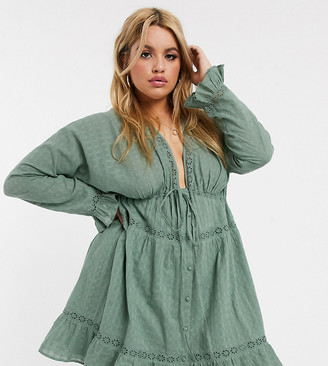 ASOS DESIGN Curve lace insert button through mini smock dress in khaki