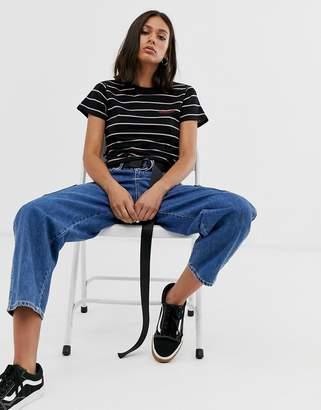 Dickies fitted tshirt in stripe-Black
