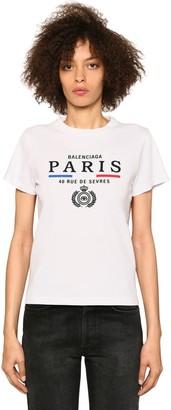 Balenciaga Paris Embroidery Cotton Jersey T-shirt