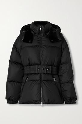 Moncler Tiac Belted Velvet-trimmed Quilted Shell Down Jacket - Black
