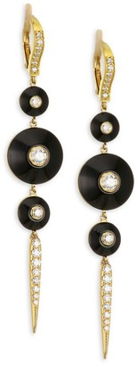Maria Canale Pyramide 18K Yellow Gold, Diamond & Onyx Pointe Earrings