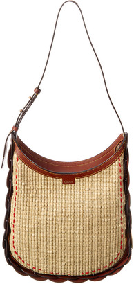 Chloé Darryl Medium Raffia & Leather Hobo Bag