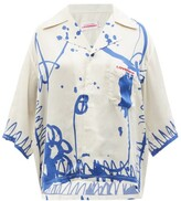Thumbnail for your product : Charles Jeffrey Loverboy Awol-print Twill Bowling Shirt - White Multi
