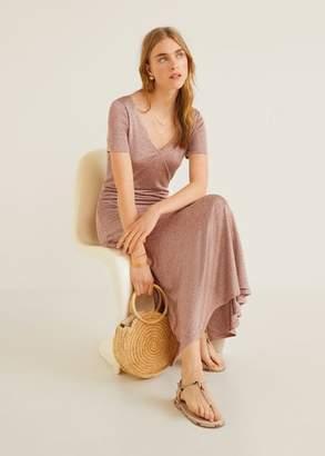 MANGO Ruffle gown pastel pink - 4 - Women