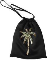 Palm Embroidered Satin Pouch