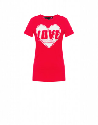 Love Moschino Heart Logo Stretch Jersey T-shirt Woman Red Size 38 It - (4 Us)