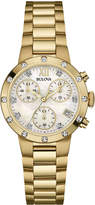 Bulova 30mm Diamond Chronograph Bracelet Watch, Yellow Golden