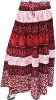 Maple Clothing Women Printed Cotton Long Skirt India Clothes (Orange)