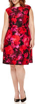 Studio 1 Sleeveless Floral Scuba Fit-and-Flare Dress - Plus