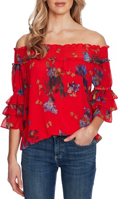 CeCe Floral Off the Shoulder Top