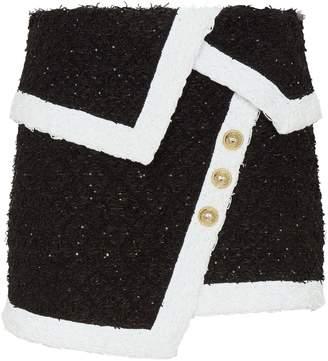 Balmain Tweed Wrap-Around Skirt