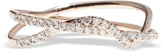 Bernard Delettrez Pink Gold Twist Ring w/ Diamonds